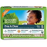 Seventh Generation Free and Clear, Unbleached Baby Diapers, Size 5, 115 Count, Packaging May Vary