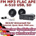 A-510 AU - 12V Motorrad MP3 FLAC APE FM Player USB SD mit Aussenlautsprechern + Kabelfernbedienung, Update von A-500 von ncXus - Reifen Onlineshop
