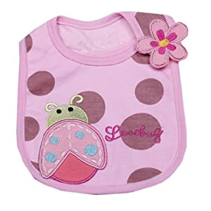 V-SOL Diseño De Insecto Mariquita Cierre Lateral Velcro Impermeable Sin Mangas Delantal Babero Para Bebé Niños Algodón Rosa marca V-SOL