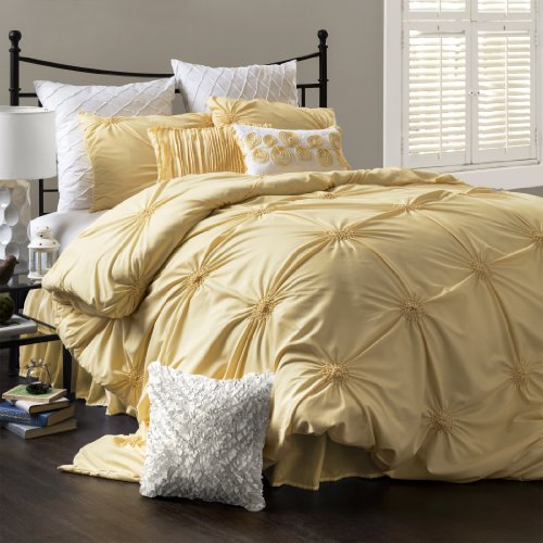 Lush Decor Bianca 4-Piece Comforter Set, Full/Queen, Yellow front-109406
