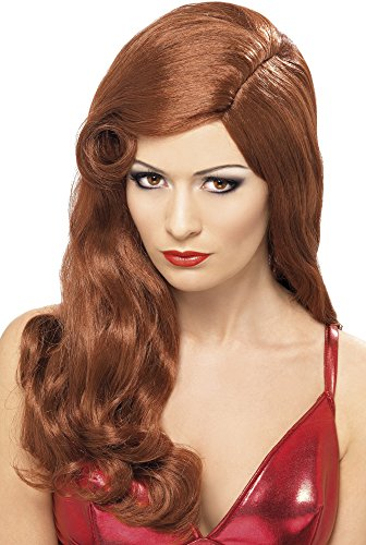 Smiffy's Women's Screen Sensation Wig Auburn Long with Natural Curls, Auburn, One Size