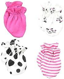 Gerber Baby-Girls Newborn 4 Pack Mittens Dalmation, Pink, 0-3 Months