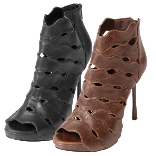 Adi Designs Womens Openwork Peep Toe Stiletto Booties