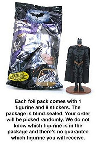 Batman The Dark Knight Collectible Stickers & Figurine (1 Randomly Picked Blind Sealed Foil Pack) (The Dark Knight Scarecrow)