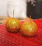Blackberry Overseas Set Of 2 Decorative Ball Shaped Sparkle Pillar Candle
