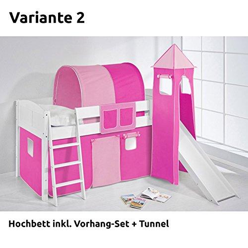 Hochbett Spielbett IDA Rosa Rosa, mit Turm, Rutsche und Vorhang, weiß, Variante 2 günstig online kaufen
