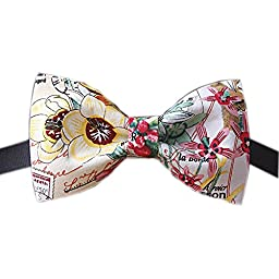 Inking Floral Bow Ties for Men Fashion Wedding and Party Dress Graduation Gift (Floral A)