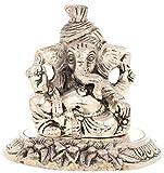 Ovin Brass Pagdi Ganesh Idol - (10.16 Cms X 8.89 Cms X 8.89 Cms, Black & White)