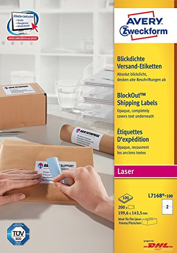 AVERY ZWECKFORM paquet de 200 Etiquettes d'expédition opaque,199,6x143,5mm