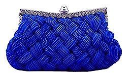 Chicastic Pleated and Braided Rhinestone studded Wedding Evening Bridal Bridesmaid Clutch Purse - Royal Blue