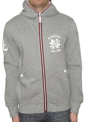 Nickelson NMD003 Men's Zipped Hoody Grey Marl Large
