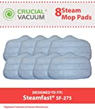 8 Steamfast Washable Microfiber Steam Cleaner Pads Fits Steamfast SteamMax SF-275/SF-370, Replaces Steamfast Steam Mop Part A275-020, Designed & Engineered by Crucial Vacuum