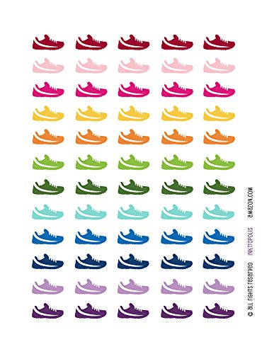 Monthly Planner Stickers Rainbow Running Shoe Stickers Planner Labels Compatible with Erin Condren Life Planner - 60 Stickers