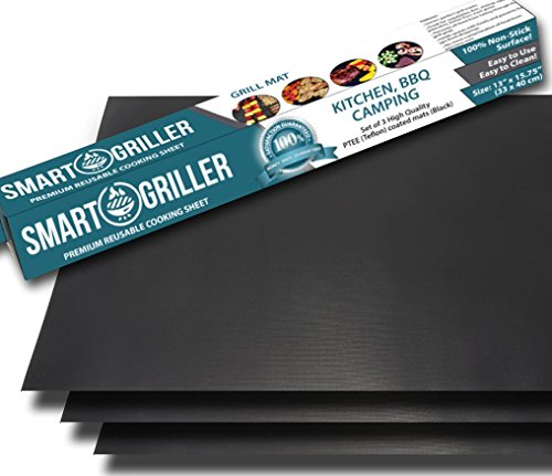 SMART GRILLER BBQ Grill Mat & Baking Mats - Set of 3 Non Stick sheets Heavier