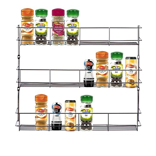Étagère à épices herbes 3niveaux de rangement pour porte de placard de cuisine ou mur