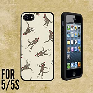 Monkey Sock Pattern Custom made Case/Cover/skin FOR Apple iPhone 5/5S - Black - Rubber Case + FREE SCREEN PROTECTOR ( Ship From CA)