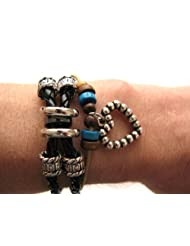 Mens or Womens hemp unisex urban surfer Black leather Silver bead and heart cord friendship bracelet