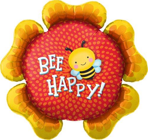 Bee Happy Flower Helium Foil Balloon - 34 inch