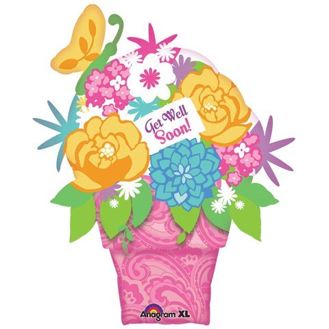Amscan 71 x 35/88 cm-Get Well Pot de fleurs en forme de Super-Ballon