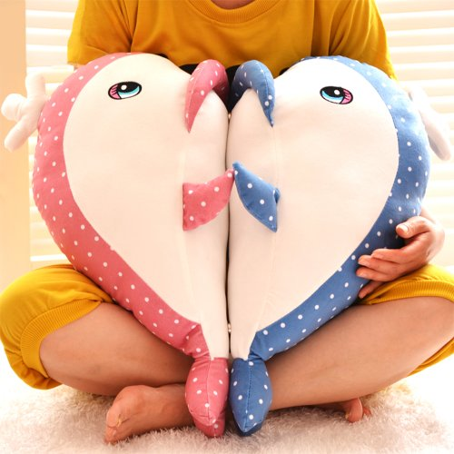 Stuffed Animals Pair Of Dolphins In Pink And Blue Plush Toys Decorative Pillows 50 X 35 X 34Cm front-980483