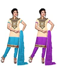 RUDRA FASHION DIWALI FESTIVE COLLECTION. PURPLE & BLUE COTTON SALWAR SUIT UNSTICHED DRESS MATERIAL COMBO PACK...