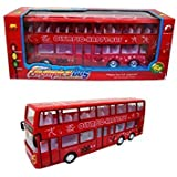 Double Decker Bus Toy, Battery Operated, Bump And Go Action, With Lights And Sounds.