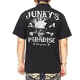 UNKY'S PARADISE[ジャンキーズパラダイス] トランプスカル刺繍 ボウリングシャツ/半袖シャツ/JBS-602--ブラック--M