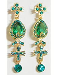 Dark Green And Cyan Stone Studded Dangle Earrings - Stone And Metal