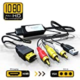 HDMI to RCA Adapter Cable – HDMI to AV Converter Converts Digital HDMI signal to Analog 3RCA/AV - Works TV/HDTV/XBOX 360/PC/DVD/Blu-ray Player/PAL/NTSC to TV/VCR/DVD/Car Convert Composite Cable
