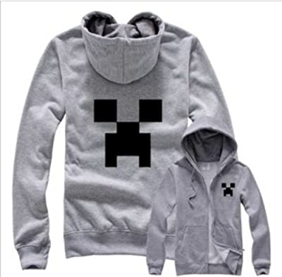 3d Sandbox Game Creeper Hoodie Gray Minecraft Monster Rave Hoodie Jacket Size Mheight 649-669 Inchesstandard from skycostume