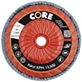 "CoreTemp 77460 Type 29 Regular Density Abrasive Flap Disc with Plastic Turbo Backing, Threaded Hub, Zirconium, 4-1/2"" Diameter, 5/8""-11 Arbor, 60 Grit  (Pack of 5)"