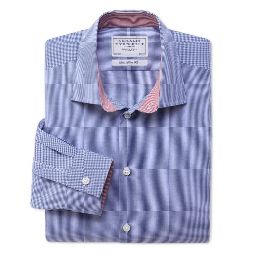 Charles Tyrwhitt Royal micro gingham check business casual extra slim fit shirt (16.5 - 35)