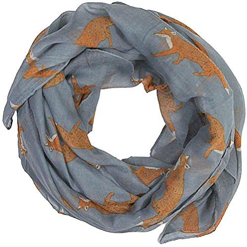 women-scarves-fox-print-large-lightweight-scarf-shawl-wrap-charcoal-grey
