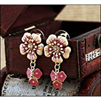 Bright Pink Enamel Flower Drop Stud Earrings