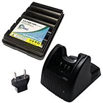 Yaesu FT-60R Battery and Charger with EU Adapter - Replacement for Yaesu FNB-83 Two-Way Radio Batteries and Chargers (1600mAh, 7.2V, NI-MH)