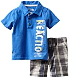 Kenneth Cole Baby-boys Infant Polo Shirt with Plaided Shorts, Blue, 24 Months