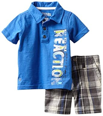 Kenneth Cole Baby-boys Infant Polo Shirt with Plaided Shorts, Blue, 18 Months