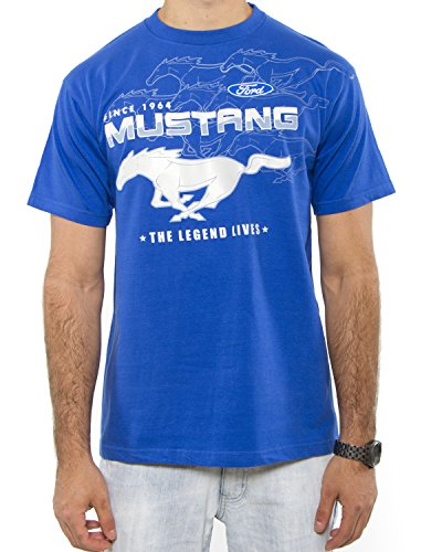 Ford Mustang Collage Adult T-shirt (3X, Royal)