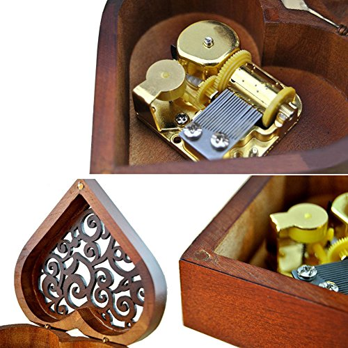 Heart Shape Vintage Wood Carved Mechanism Musical Box Wind Up Music Box Gift For Christmas/Birthday/Valentine's day, Melody Castle in the Sky 6
