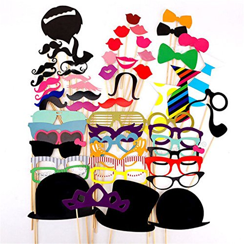 #1 Rate Photo Booth Props ,Alenca 58 pcs Photo Booth Props DIY Kit for Wedding Birthdays Party Reunions Dress-up Photobooth Accessories & Party Favors,Hats,Glasses,Costumes Mustache on stick