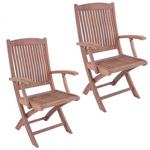 2er Set Klapparmstuhl MEDAN mit Armlehne Teak A-Grade unbehandelt ergonomisch Gartenstuhl Holz