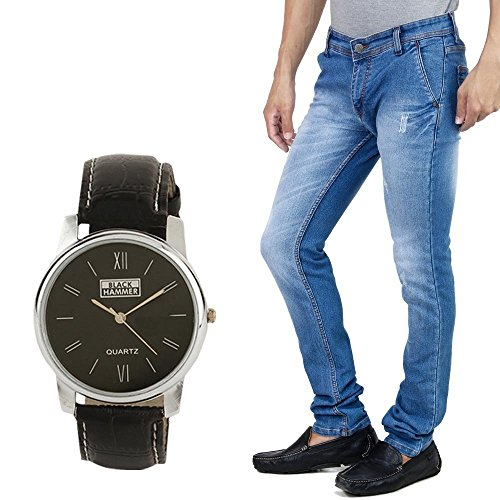 Stylox Men's Jeans With Watch Jeans Light Blue