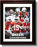 Framed 2015 Ohio State National Championship Autograph Print - Coach Meyer, Jones, Smith, Elliott, Gwilym