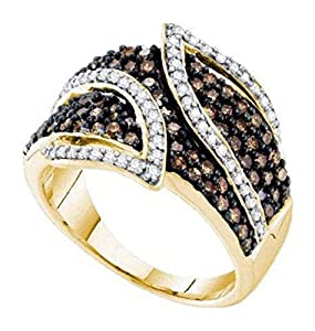 1 cttw 10k Yellow Gold Brown Diamond and White Diamond Crossover Wedding Band Ring, 15mm ((L0850) Womens Size 8.5)