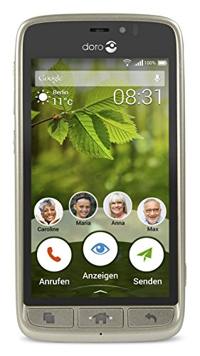 Doro 8031 4G Smartphone (11,4 cm (4,5 Zoll), LTE, 5 MP Kamera, Android 5.1) champagner