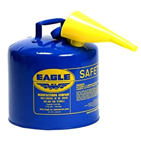 "Eagle UI-50-FSB Blue Galvanized Steel Type I Kerosene Safety Can with Funnel, 5 gallon Capacity, 13.5"" Height, 12.5"" Diameter"