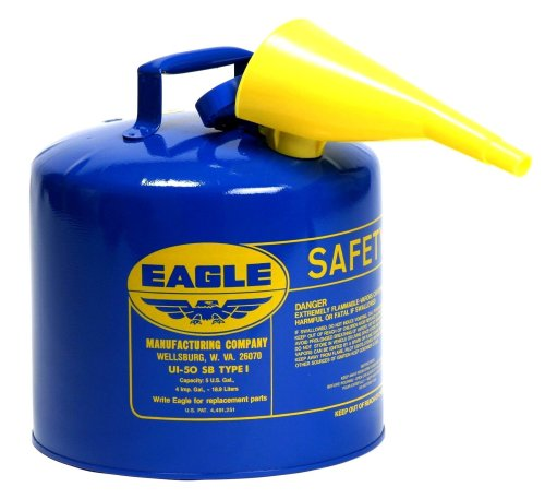 Images for Eagle UI-50-FSB Blue Galvanized Steel Type I Kerosene Safety Can with Funnel, 5 gallon Capacity, 13.5