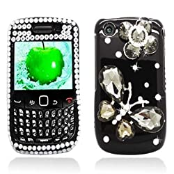 Sparkling Black 3d Butterfly Design Full Diamond Rhinestone Snap on Hard Skin Shell Protector Faceplate Cover Case for Blackberry Curve 8520 8530 9300 9330 + Lcd Screen Guard + High Sensive Stylus Pen