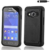 32nd® Shock proof rubber case cover for Samsung Galaxy Ace 4 SM-G357FZ + screen protector and cloth - Black