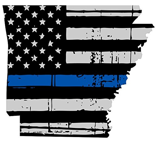 Arkansas tattered thin blue line us flag honoring our men and women of law enforcement Computer Laptop Symbol Decal Family Love Car Truck Sticker Window (Arkansas Decal compare prices)